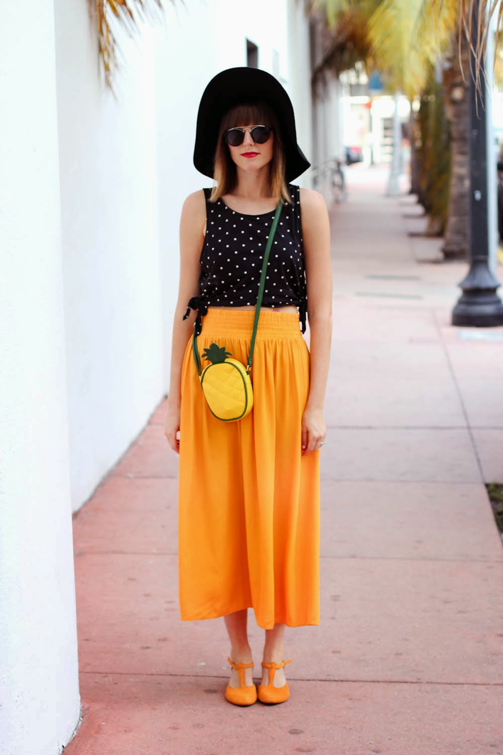 forever 21 polka dot top, mustard yellow skirt, asos pineapple bag, miami fashion blogger