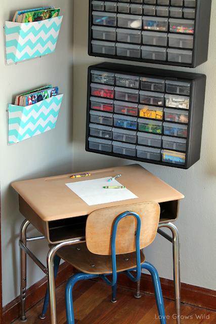 Kid's Creative Center by www.lovegrowswild.com #kids #art #playroom #storage