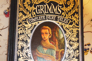 cover of a leatherbound cover of grimm's fairytales