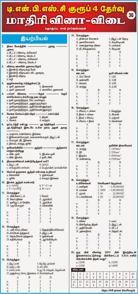 Tamil-TNPSE GROUP IV Questions Answers-30