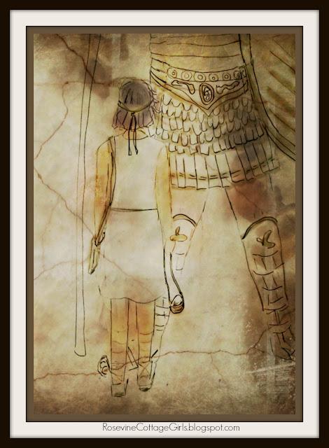 David and Goliath - Sketch of the boy David facing the Giant Goliath (C) Tracy Hasty