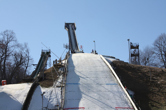 Skier jumping at the Norge Ski Jump in Fox River Grove, IL