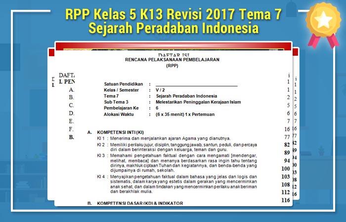 RPP Kelas 5 K13 Revisi 2017 Tema 7 Sejarah Peradaban Indonesia