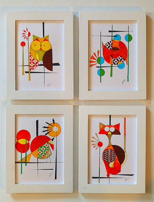 my owl barn colby and friends mid century paintings. Black Bedroom Furniture Sets. Home Design Ideas