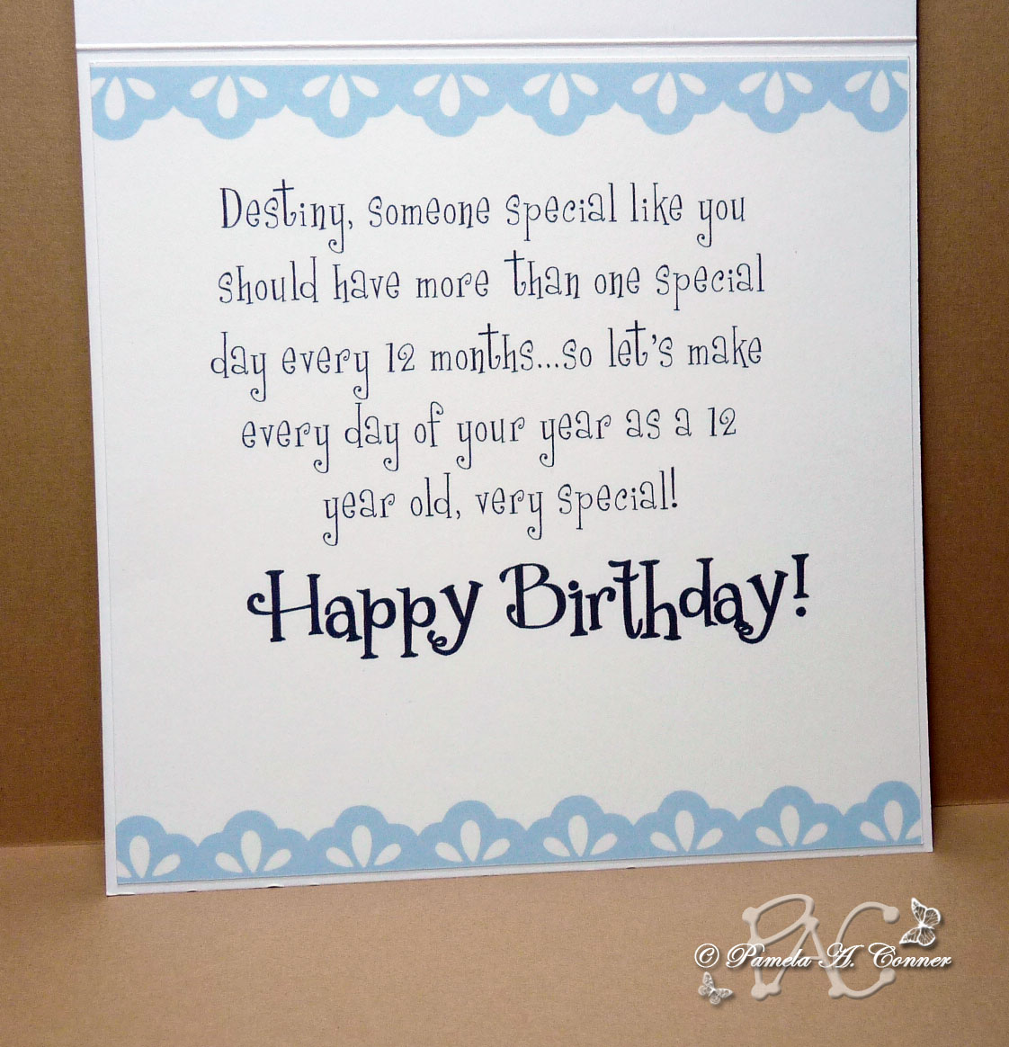 One Year Old Birthday Quotes: YorkieMom's Creative Corner: Birthday Card For 12 Year Old