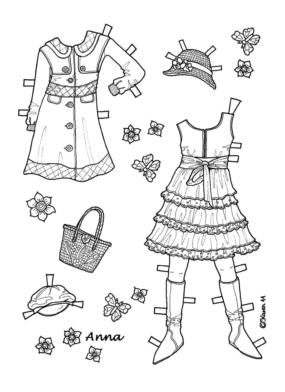 Karen`s Paper Dolls: Anna 1-6 Paper Doll to Print and