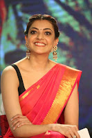 Kajal Aggarwal in Red Saree Sleeveless Black Blouse Choli at Santosham awards 2017 curtain raiser press meet 02.08.2017 069.JPG