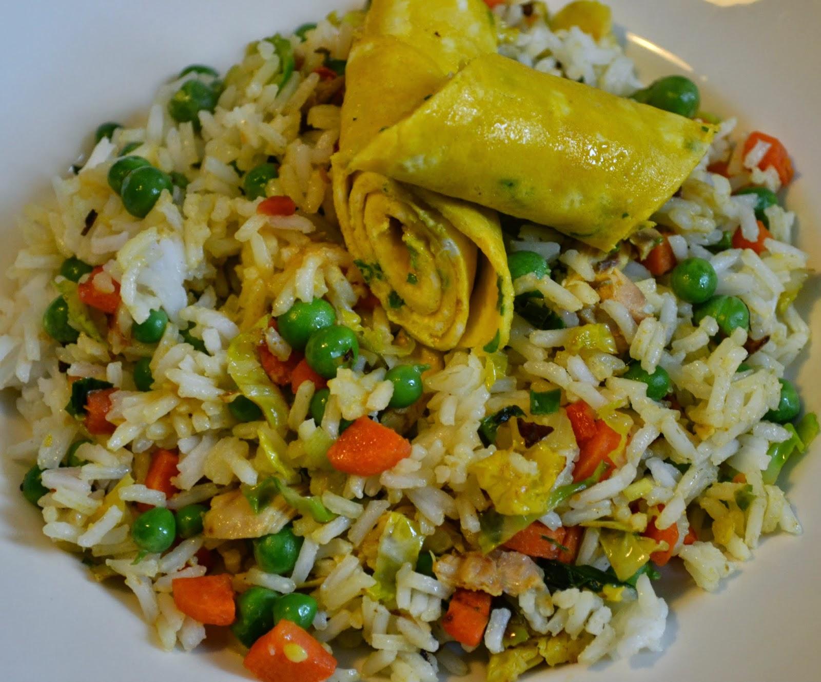 Nasi met kip, kerrie en kokos