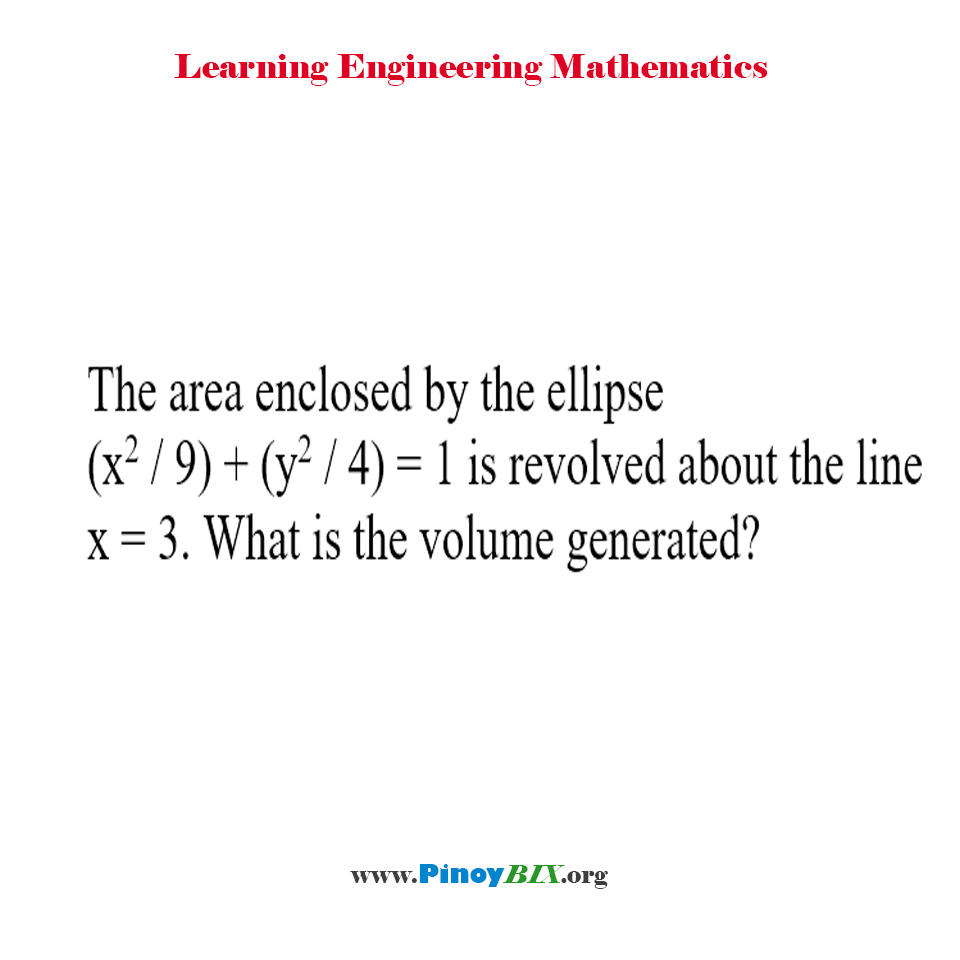 What is the volume generated by the ellipse revolved about the line?