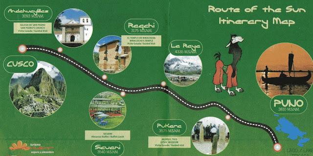 Itinerário do ônibus turístico de Cusco a Puno - Peru