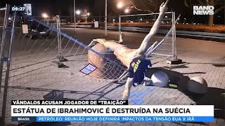 Estátua de Ibrahimovic é destruída na Suécia