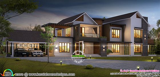 3924 square feet 4 bedroom modern sloped roof house
