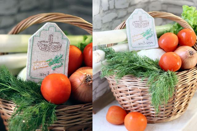 корзина с овощами и вышитый календарь от вышитый календарь от Véronique Enginger