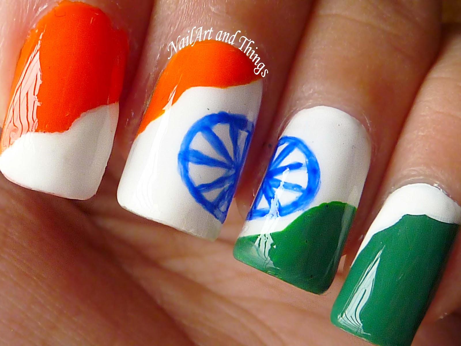 Pakistan Independence Day Nail Art 4 Designs: NailArt And Things: Independence Day Nail Art: Indian