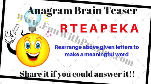 Anagram Brain Teaser Puzzle Question