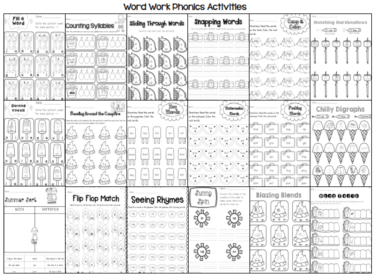 Sarah S First Grade Snippets Summer Literacy Packet For