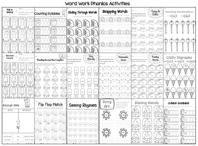 Sarah's First Grade Snippets: Summer Literacy Packet for