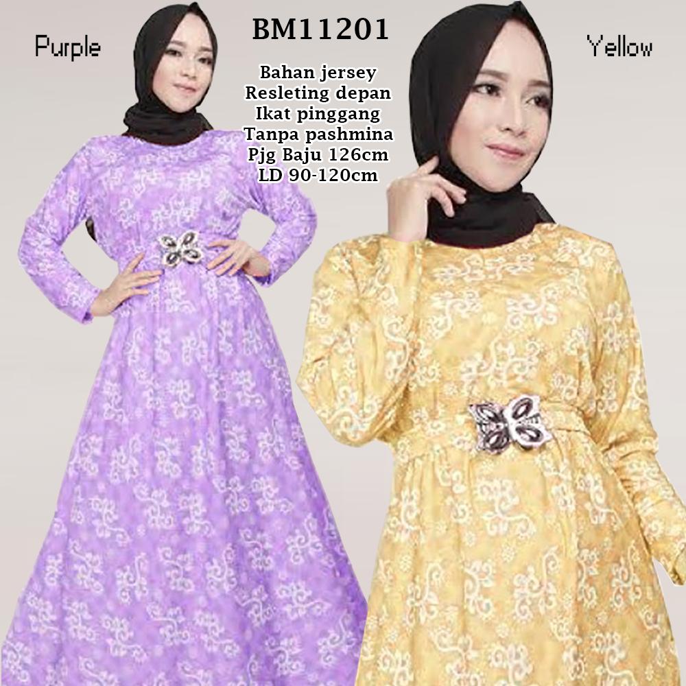 Numpang Top Bm11201 Long Dress Gamis Jersey Busui Dengan