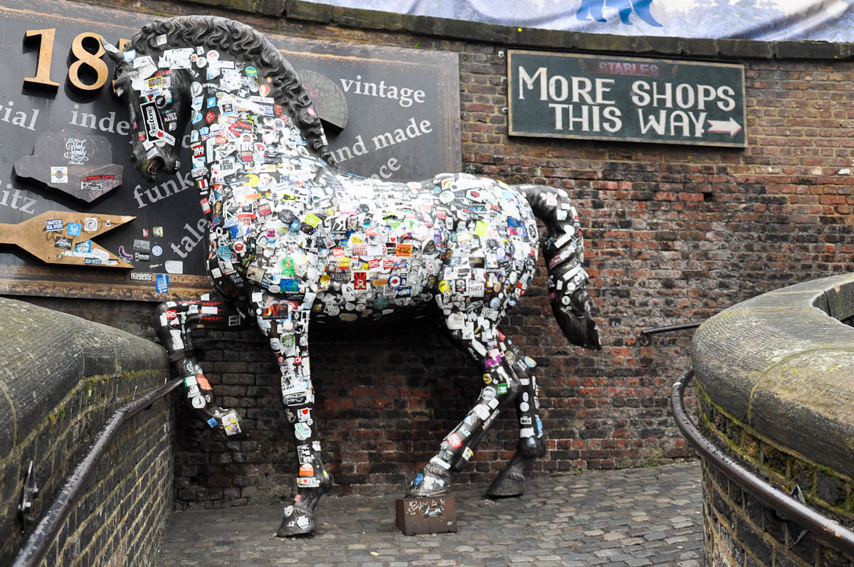 Labels horse, Stables Market, Camden Town, London, England