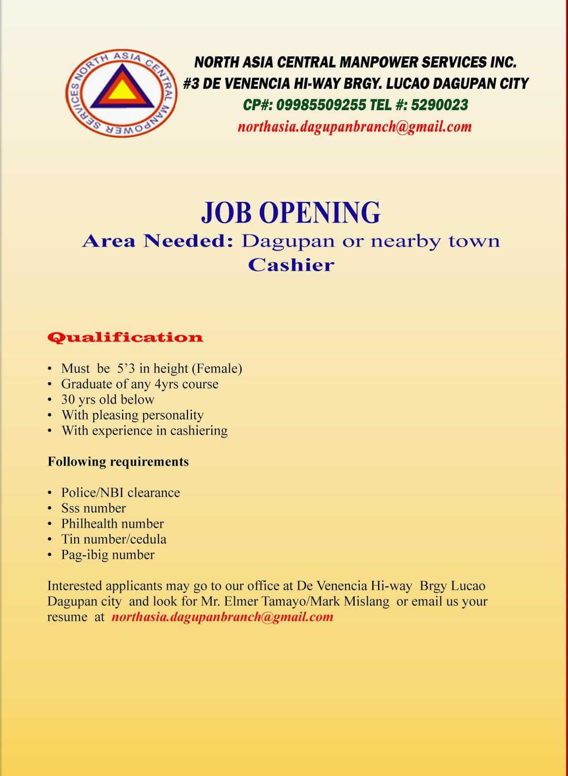 hiring cashier jobs