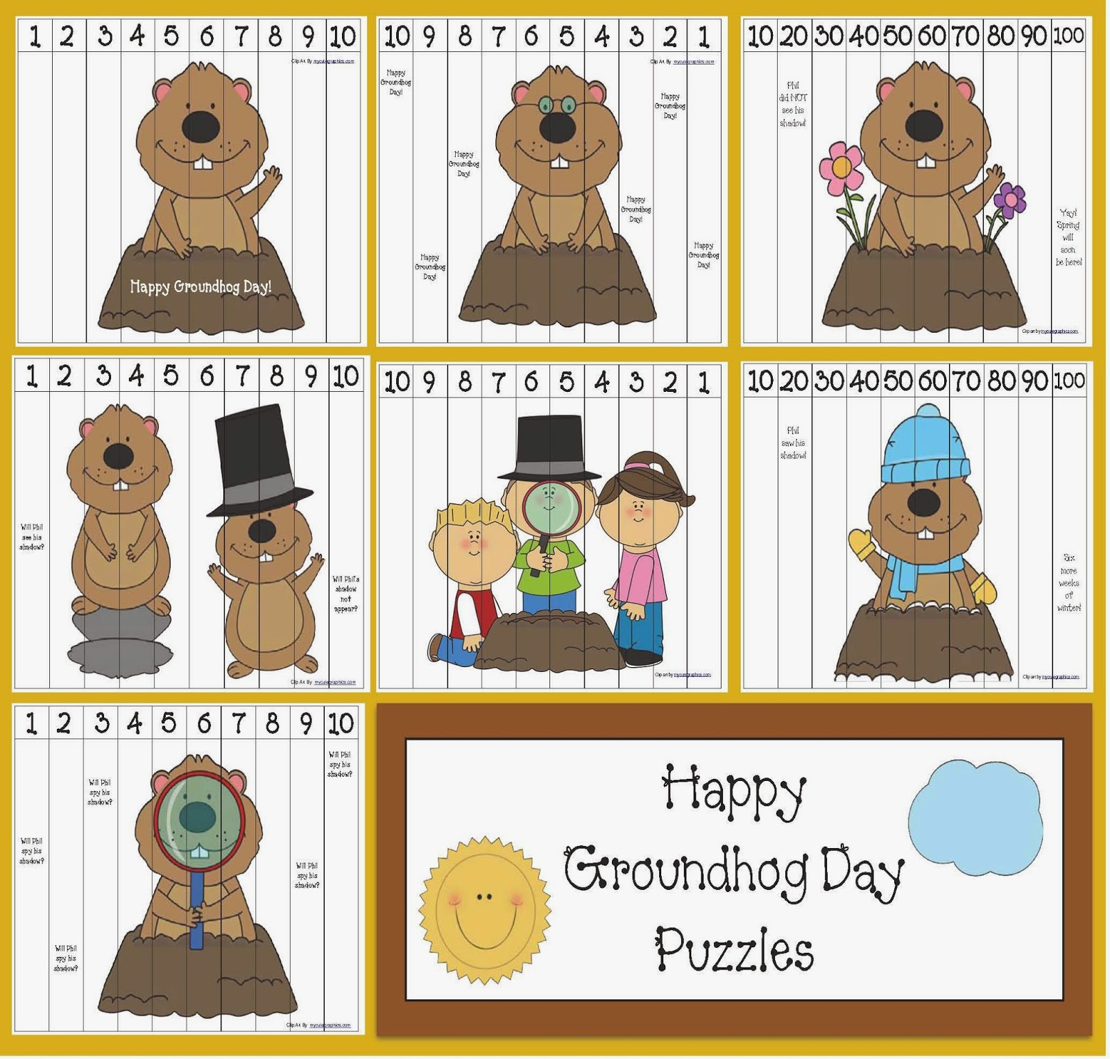 Classroom Freebies Groundhog Day Number Puzzles