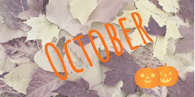 October title image with leaves background and smiling carved pumpkins icons in corner
