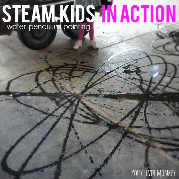 STEAM Kids in Action - get the fantastic STEAM Kids book with more than 50 hands on STEAM projects to try at home or in the classroom like this water pendulum painting activity | you clever monkey