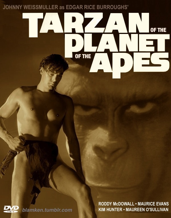 mock DVD case for 'Tarzan of the Planet of the Apes' featuring Johnny Weissmuller as Tarzan with ape face looming in background