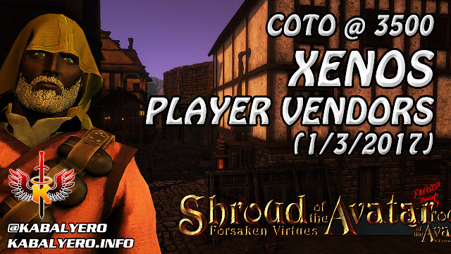 Shroud Of The Avatar Market Watch 💰 COTO @ 3500, Xenos Player Vendors (1/3/2017)