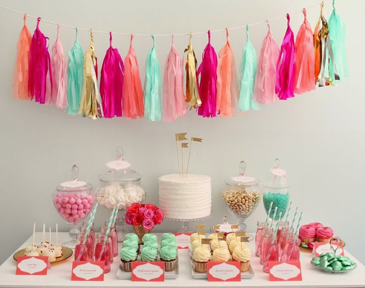 dessert table aqua, coral and gold and tassel garland