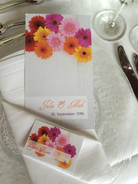 Gerbera menu cards and name tags, Texas wedding in Germany, Bavaria, Garmisch-Partenkirchen, Riessersee Hotel, wedding destination location, wedding planner Uschi Glas, alps and lake-side wedding