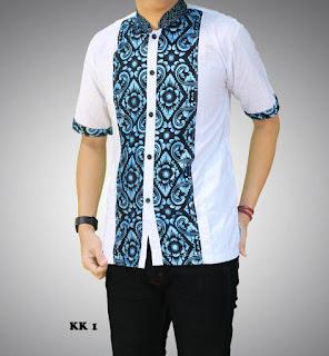 baju batik pria warna putih