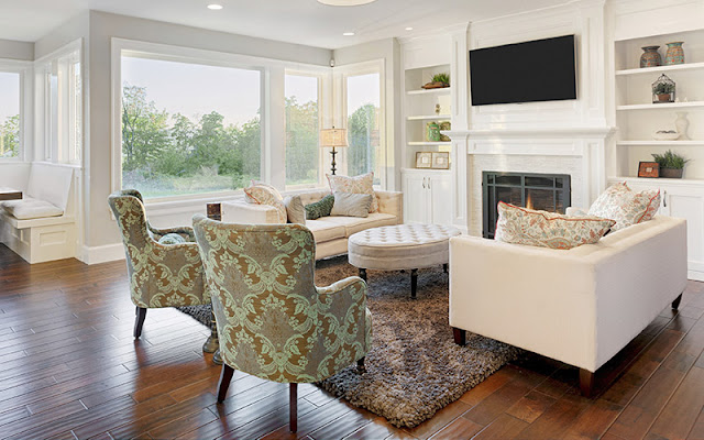 Beautiful wood flooring in a larger living area