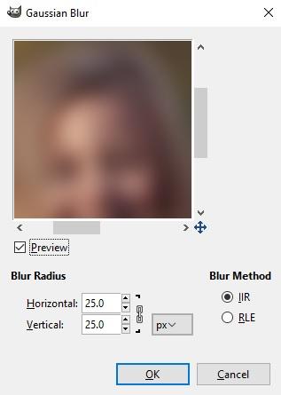 Setingan filter gaussian blur untuk memperhalus gambar