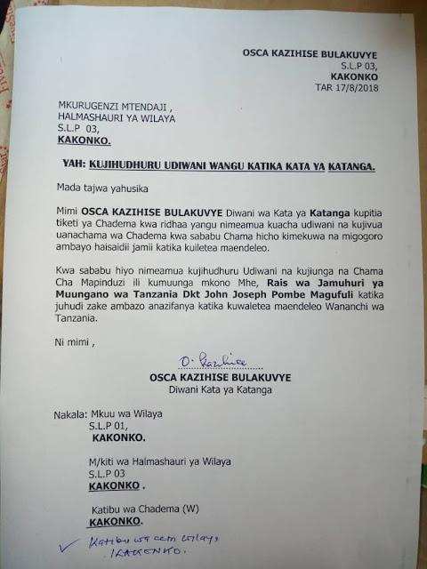 Diwani Mwingine wa Chadema Kigoma Ajiunga na Ccm