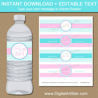 gender reveal water bottle labels in pink and aqua