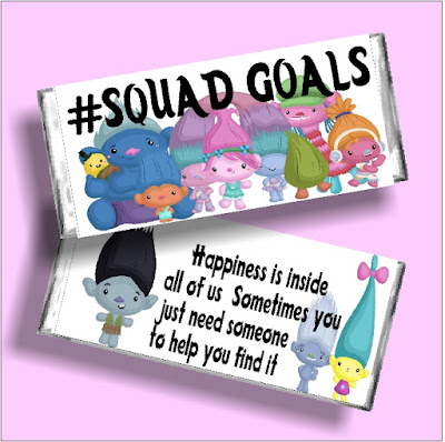 Celebrate your friendships and your #squadgoals with this Trolls printable candy bar wrapper. This wrapper is perfect to give to your friends this Valentine's day or any day to let them know how much they mean. Click and print today! #trolls #trollsparty #friendgift #candybarwrapper #diypartymomblog