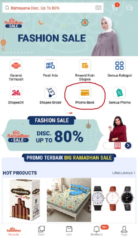 Fitur Promo Bank Untuk Mencari Promo Ramadhan di Shopee