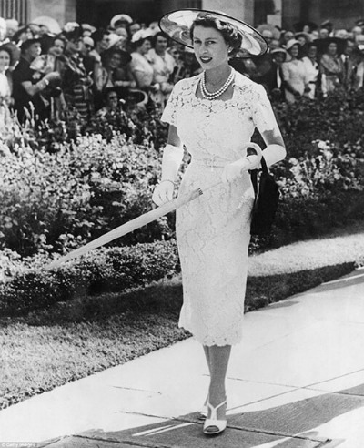 Queen Elizabeth II wearing Cornelia James gloves at garden party  Sydney, Australia  February 1954.