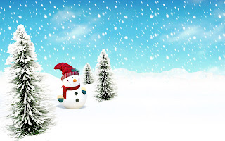 Snow Man Winter Pine Illustration Wallpaper