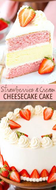 Strawberríes And Cream Cheesecake Cake