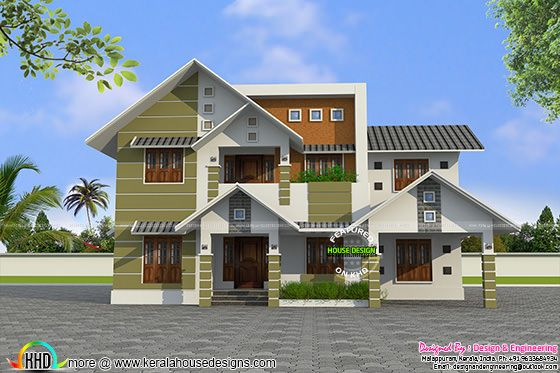 Modern style sloping roof house plan