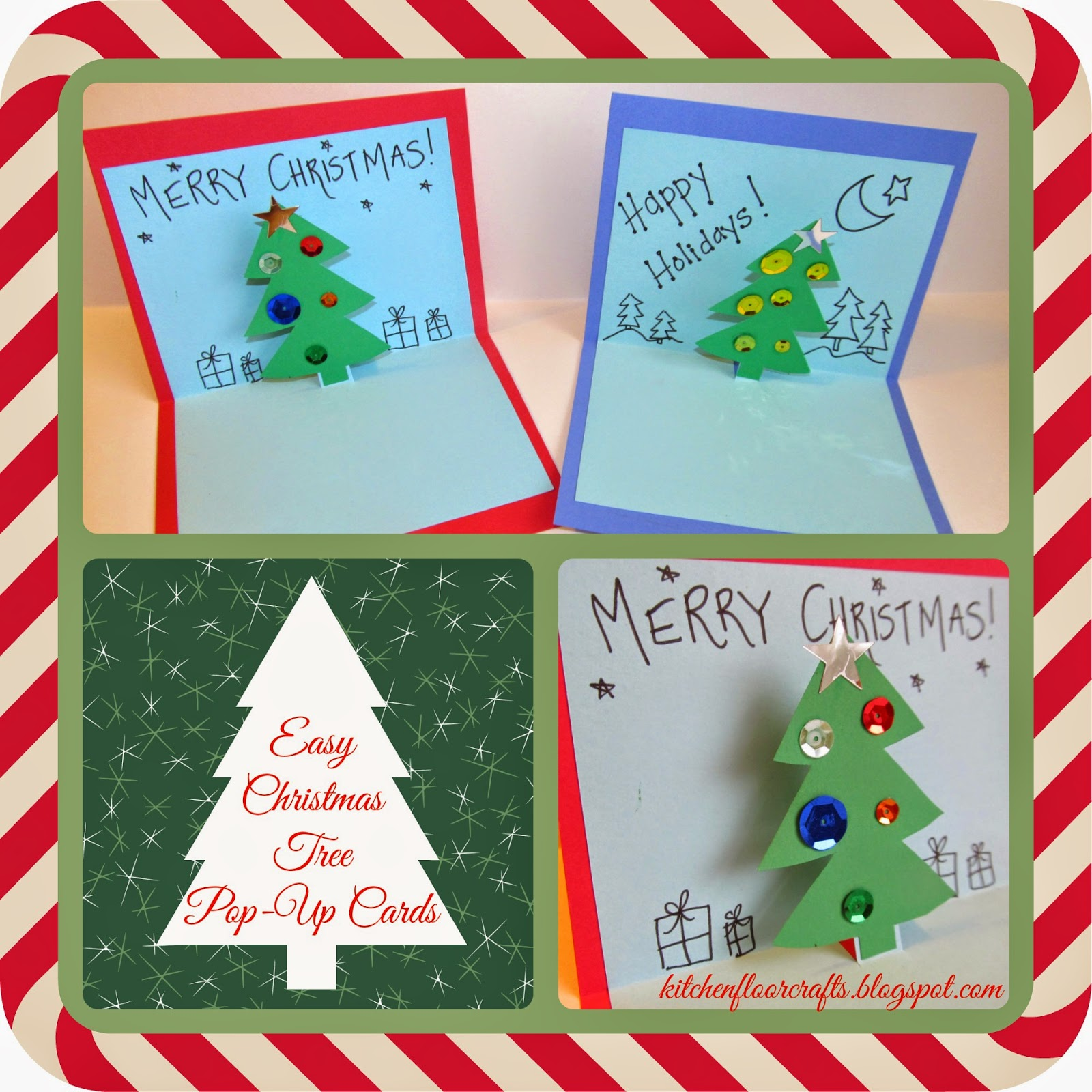 kitchen floor crafts easy christmas tree popup cards