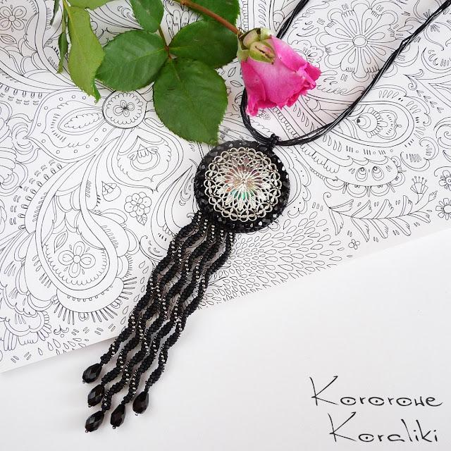 naszyjnik z frędzlami haft koralikowy | bead embroidery necklace
