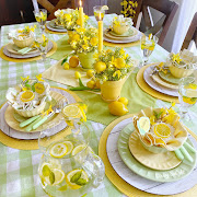 Lemon Themed Mother's Day Tablescape