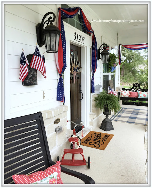 Farmhouse-Fourth of July-Patriotic-Bunting-Tricycle-Porch Rug- Front Porch-From My Front Porch To Yours