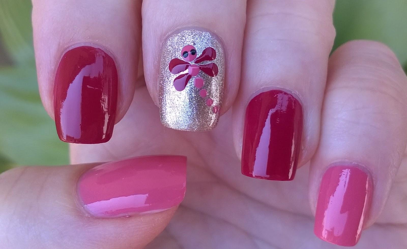 Life World Women Pink Gold Dragonfly Nail Art Pretty Summer Nails