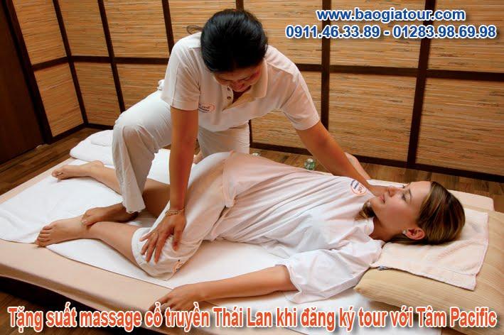 Tặng suất massage cổ truyền Thái Lan khi đăng ký tour với Thanh Tâm