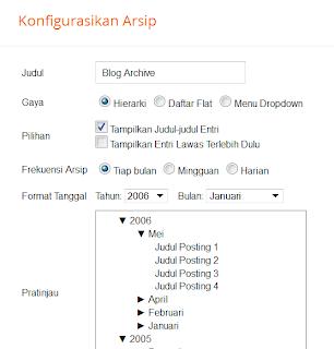 cara widget arsip blogger mode hierarchy selalu tertutup collapsed