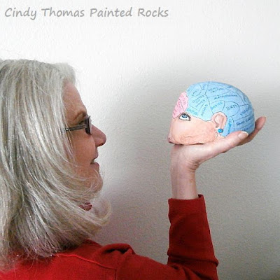Painted Brain Rock by Cindy Thomas